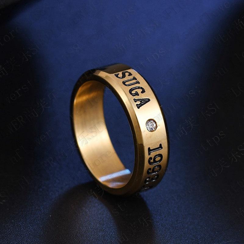 1pcs BTS Black Gold Silver Gloss Rings Name Birthday 11