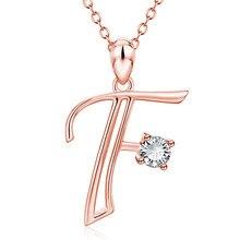 RongXing Simple moda blanco redondo circón 26 letras colgante collares para mujeres Rosa oro lleno de cristal collar regalo de boda