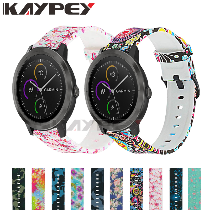 Camouflage Flower Soft Silicone Strap For Garmin Vivoactive 3 Vivomove3 HR Smart Wristband For Garmin Forerunner 645 Music Band
