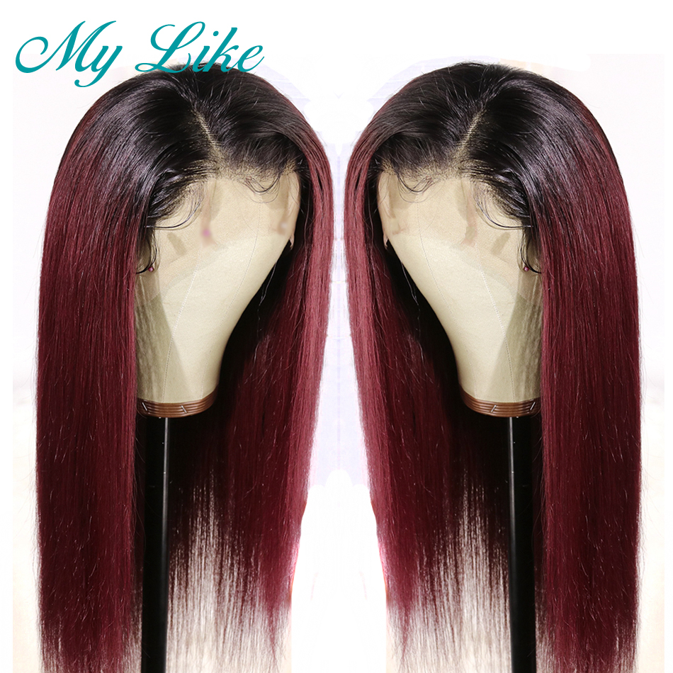 My Like 360 Lace Frontal Wigs Pre Plucked With Baby Hair Remy Straight Human Hair Wigs 1b/99j Burgundy Ombre Lace Front Wigs
