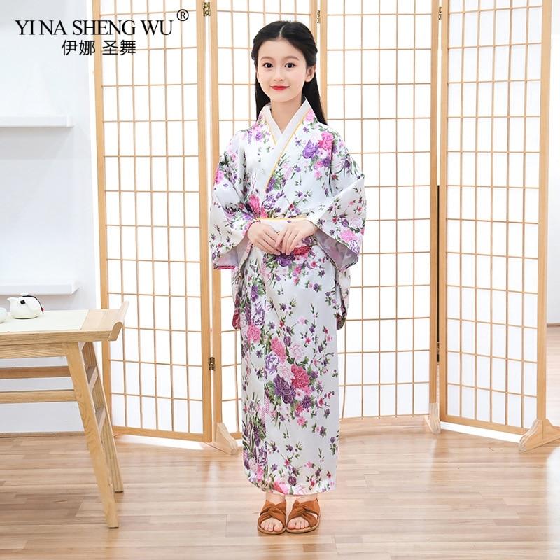 Japan Traditional Robe Satin Girls Kimono Yukata Child Print Dress Bridesmaid Flower Girl Clothing Silk Nightgown Peacock Robe