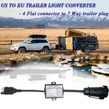 US To Europe Trailer Light Converter 4 Way Flat Socket (American Vehicle) To 7 Way Round Socket (European Trailer)
