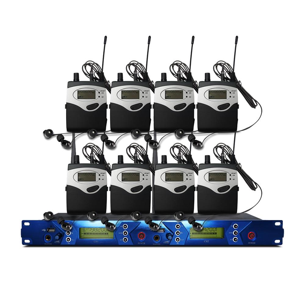 In Ear-Monitor-System 2 Kanal 9 Taschensender Monitor mit Monitor Wireless für Bühne Studio Ausrüstung