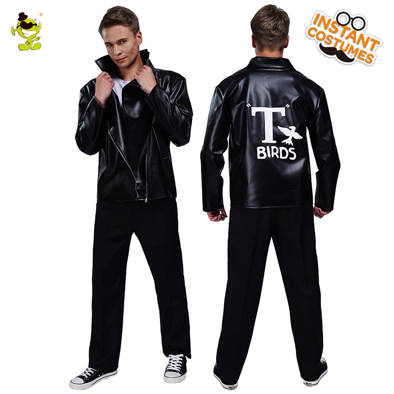 Summer Men Rockabilly T/'Bird Grease Black Leather Jacket Costume Cosplay
