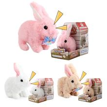 Electric Rabbit Plush Toy Bunny Battery Operated Hopping Stuffed Rabbit Pet Walking Jumping Interactive Toy For Children's Gift