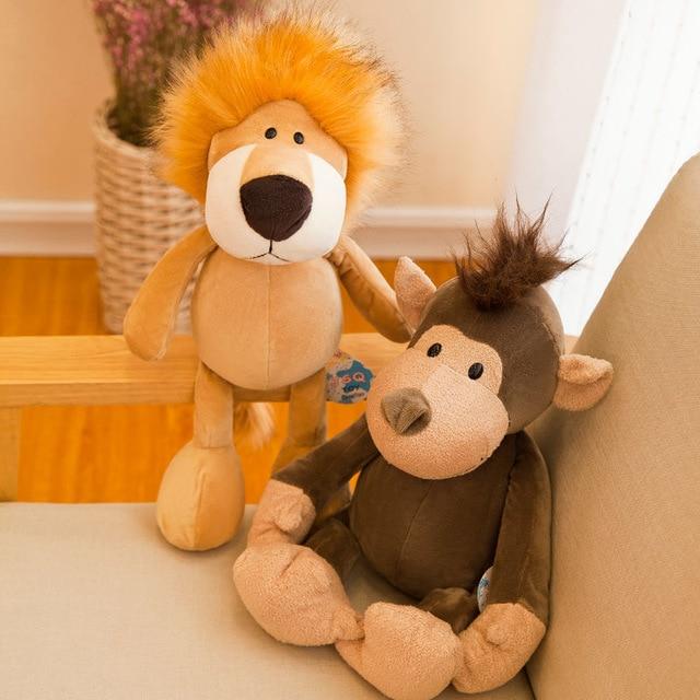 25cm 35cm Super Cute Stuffed Toys for Kids Sleeping Mate Jungle Animals Dolls Elephant Dog Tiger Fox Lion Giraffe Raccoon Monkey 2