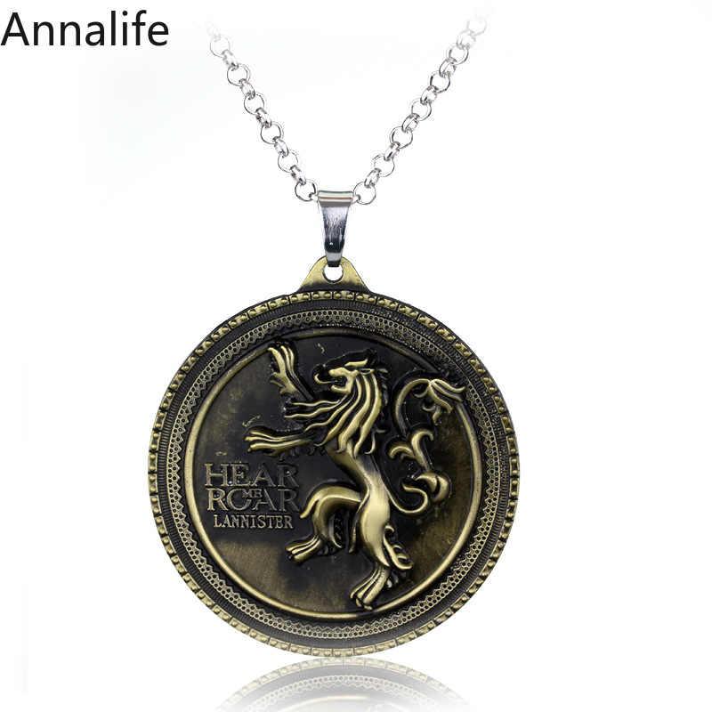 2019 Baru Serigala Kepala Stark Crest Liontin Kalung Alloy Perhiasan Permainan Takhta Kalung Pria Natal Kerah Souvenir