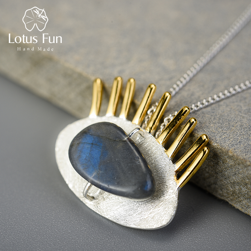 Lotus Fun Real 925 Sterling Silver Natural Labradorite Fine Jewelry Interesting Gold Eyelashes Pendant Without Chain For Women