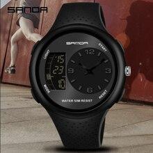 SANDA mannen Waterdichte Student Horloge Dubbele Display Lichtgevende multifunctionele Outdoor Sport Persoonlijkheid Elektronische Horloge