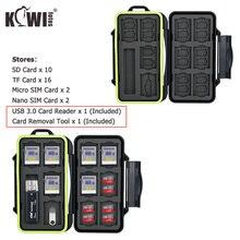 Estuche de tarjeta de memoria resistente al agua caja de almacenamiento organizadora y lector de tarjetas usb 3,0, SD, SDHC, SDXC, Micro SD, TF, Micro SIM, Nano SIM