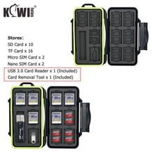 Wodoodporne etui na kartę pamięci SD SDHC SDXC Micro SD TF Micro SIM Nano SIM stojak w kształcie karty schowek pudełko typu Organizer i czytnik kart usb 3.0