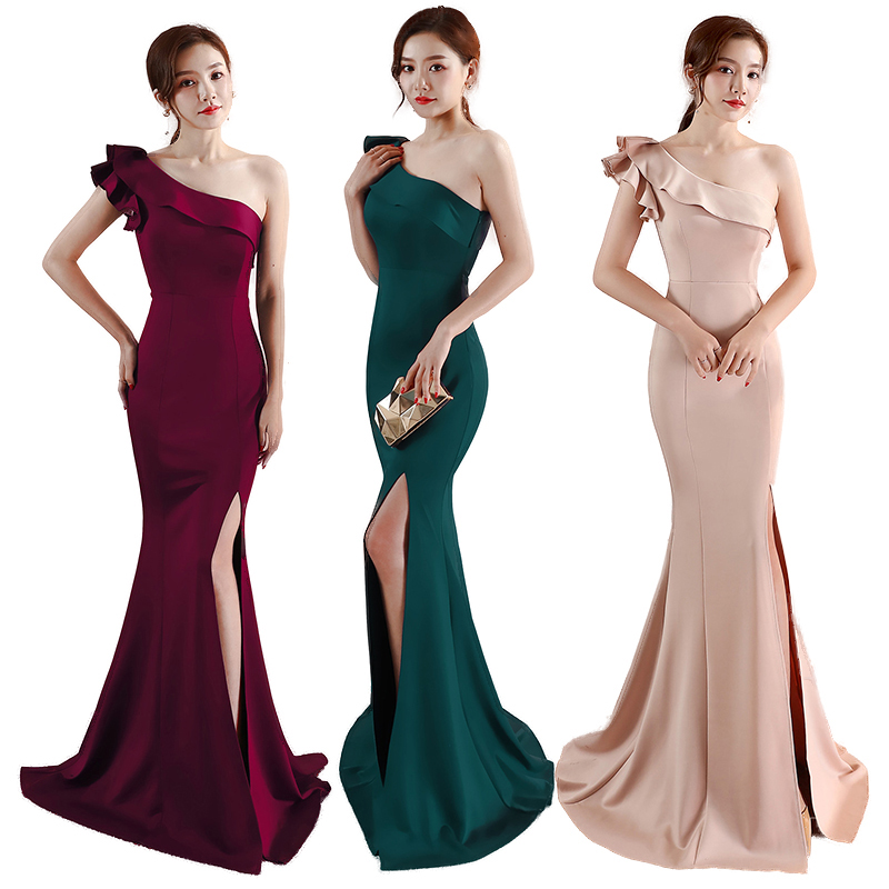 One Shoulder Evening Dress Sleeveless Elegant Floor Length Mermaid Long Party Gowns Zipper Split Ladies Solid Sexy Robes Elegant