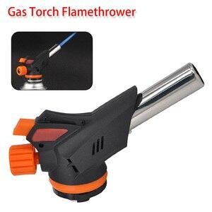 Metal Flame Gun Welding Gas Torch Gas Butane Blow Burner Flamethrower Auto Ignition Lighter Gun Flame Lighter for Bake Cakes