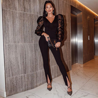 Ocstrade Long Sleeve Sexy Jumpsuit for Women 2020 Fashion Black Mesh All Black Bandage jumpsuit Bodycon Club Party Jumpsuit