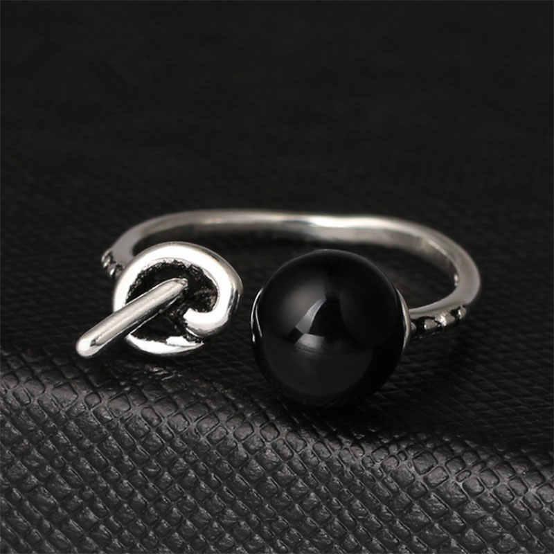 925 סטרלינג כסף בפנינה שחורה קשר תאילנדי כסף טבעות מתכוונן טבעות לנשים אופנה מסיבת תכשיטי S-R120
