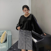 Set women's white sweater houndstooth bag hip skirt temperament suit new style self cultivation split bag hip skirt two piece
