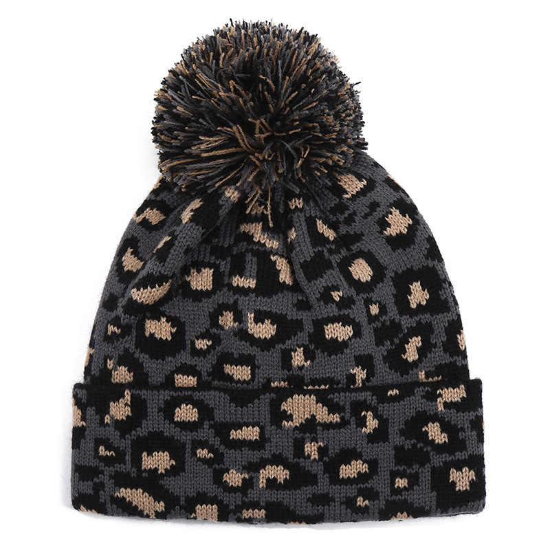 Luipaard Beanie Gebreide Winter Herfst Print Vrouwen Hoed met Pompom Pom Pom Warm Dames Fall Fashion 2019 Nieuwe Skiën Sneeuw ski Cap