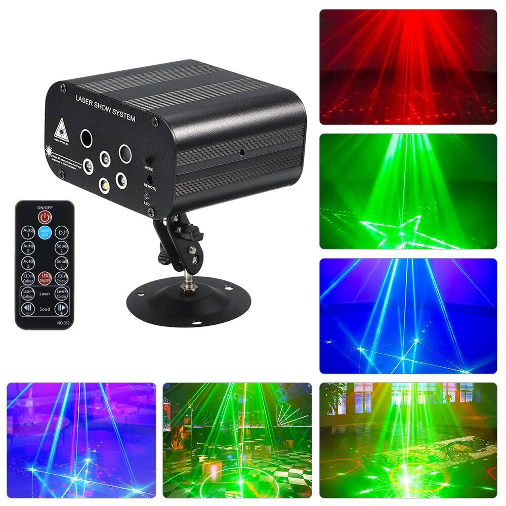 Мини RGB диско-светильник светодиодный лазерный проектор Красный Синий Зеленый лампа Свадьба Рождество День Рождения Вечеринка DJ