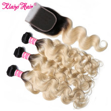 KLAIYI Hair Brazilian T1B613 Body Wave With Closure 4 PCS Remy Hair Weave Bundles With Closure Human Hair 3 Bundles With Closure