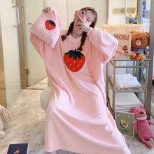 2020 inverno coreano grosso quente flanela manga longa solta camisola para mulher coral veludo sleepwear noite vestido noite noite noite noite noite
