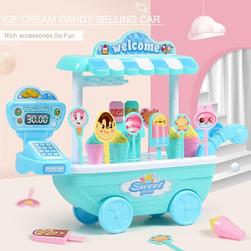 DIY Kids Toy Children Role Play Toys Educational Toy Mini Candy Cart Detachable IceCream Shop Toy Cash Register Chrismas Gift