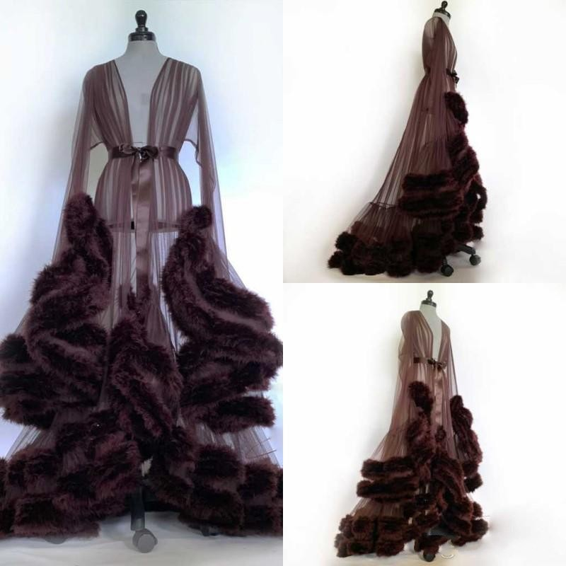 2020 Modern Wedding Night Gowns Long Sleeves See Through Fur Ribbon Sash Robes Night Wear Women Custom Made Pajamas Sleepwear