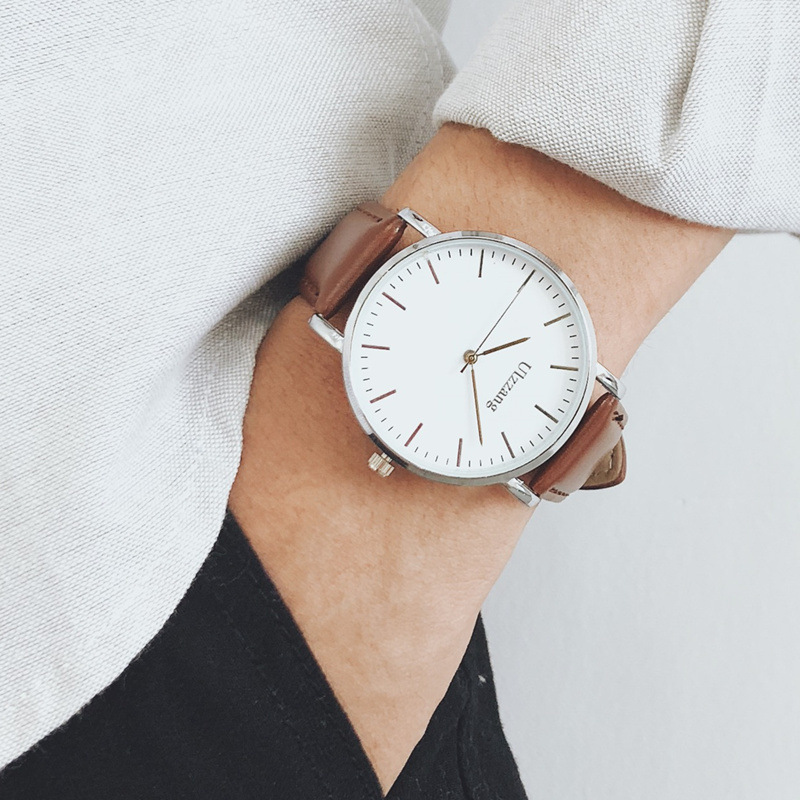 Fashion Men Watches Bussiness Casual Minimalism Man's Watch White Big Dial Design Leather Strap Quartz Male Clock