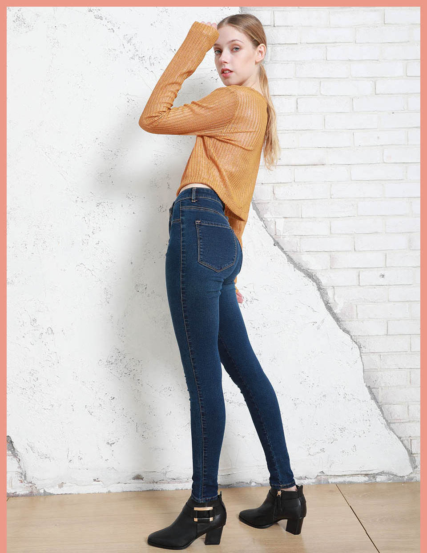 Autumn Winter Women Denim Skinny Pants Super Stretch Fake Front Pocket Waist Blue Grey Black White Slim Elastic Lady Jeans 8