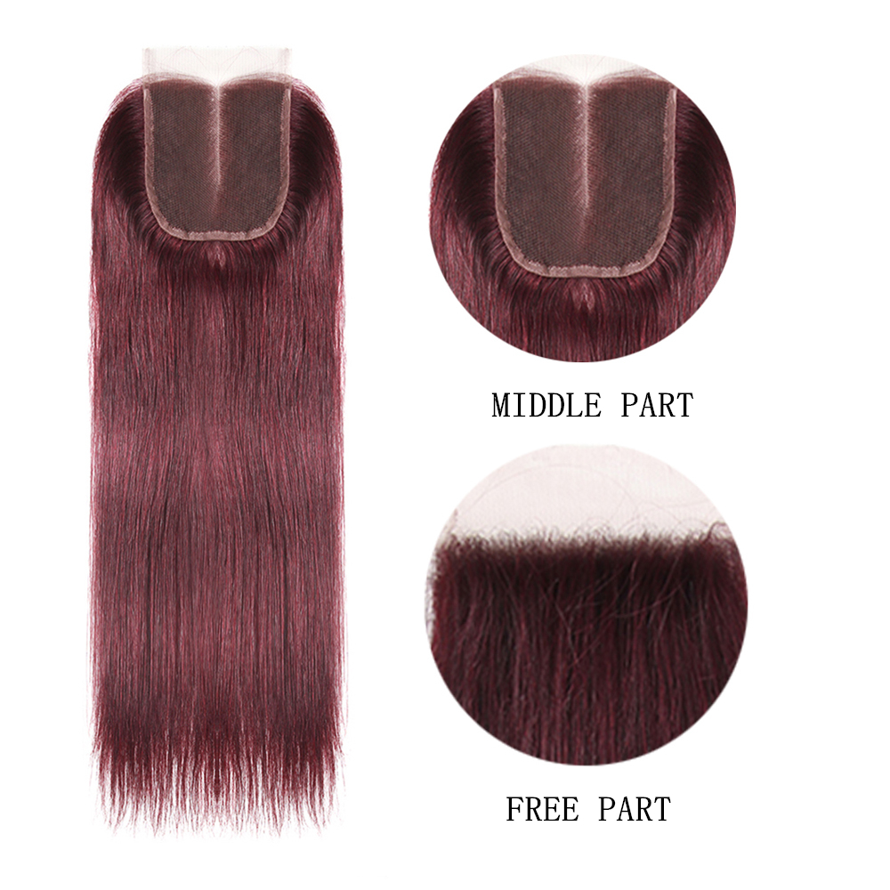99J/Burgundy Red Color Straight Human Hair Weaves 3 Bundles With 4*4 Lace Closure Remy Hair Weft Extensions