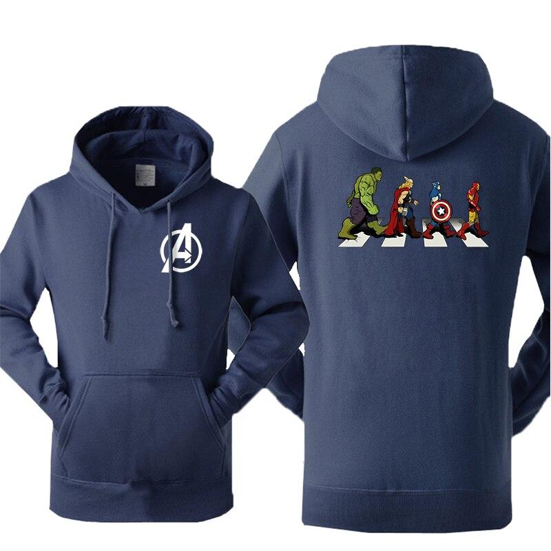 Marvel Avengers Men's Funny Iron Man Hoodies Sweatshirt Fleece Hulk Hoodie Fitness Streetwear Winter Warm Pullover Sportswear