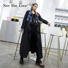See you love Women Spliced Print Big Size Trench New Lapel Long Sleeve Loose Fit Windbreaker Fashion Tide Autumn Winter 2019