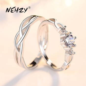 NEHZY 925 sterling silver new jewelry fashion couple ring engagement wedding anniversary gift woman man cubic zirconia open ring 1