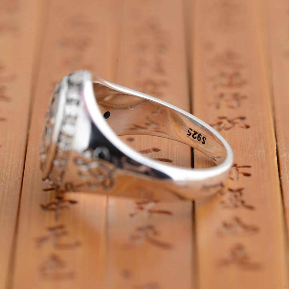 เงินแท้Silver 925 Sterling Silverเครื่องประดับVINTAGEพระพุทธรูปหกคำ 'แหวนมนต์สำหรับสตรีและผู้ชายBijouterie Fine