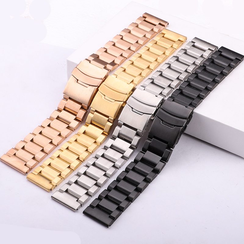 18 20 22 24mm Watchbands Bracelet Women Brushed Stainless Steel Wrist Watch Strap Band Double Push Deployment Clasp