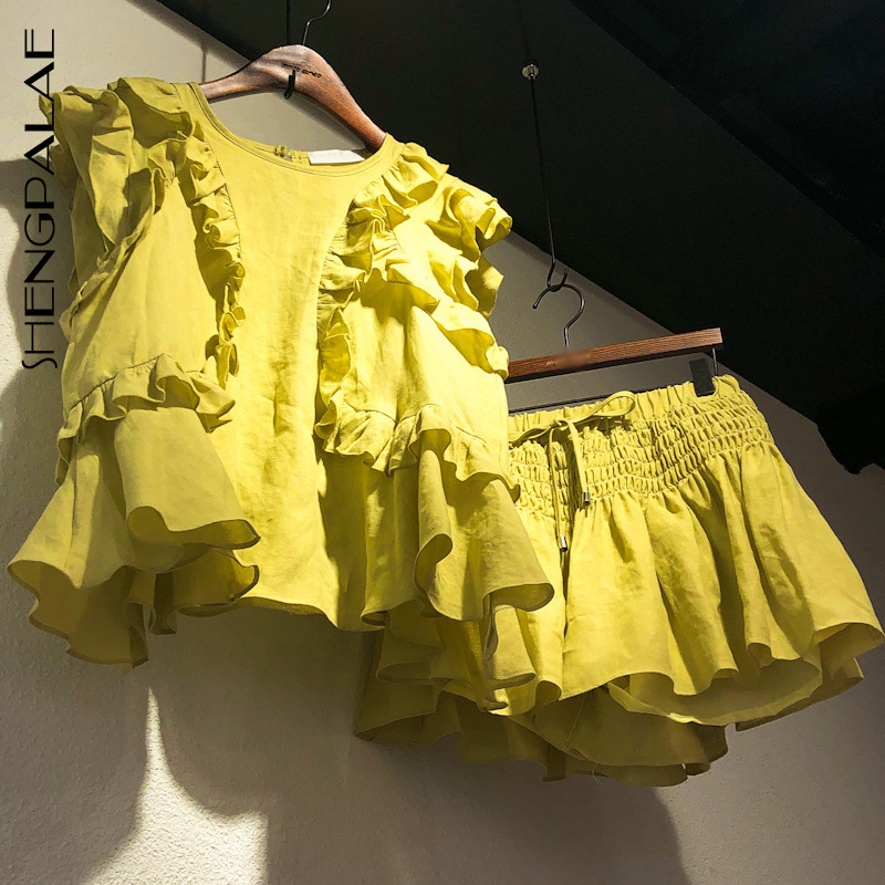 SHENGPALAE 2020 New Summer Korean Style Cotton Short Petal Sleeve O Neck Ruffles T Shirt Yellow Drawstring Shorts Women MF425