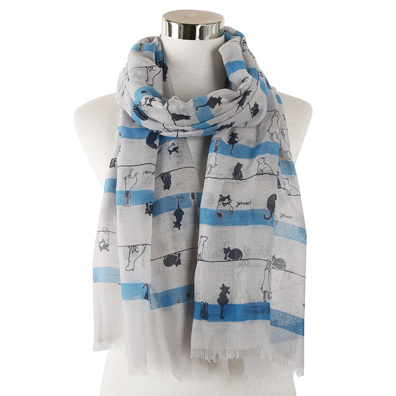 2020 New Design Cute Animal Print Cat Scarf For Women Ladies Grey White Viscose Scarves Wraps Shawl Stole