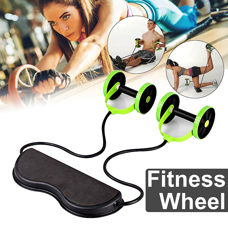 AB Wheels Roller Stretch Elastic Abdominal Resistance Pull Rope Tool AB Roller For Abdominal Muscle Trainer Exercise
