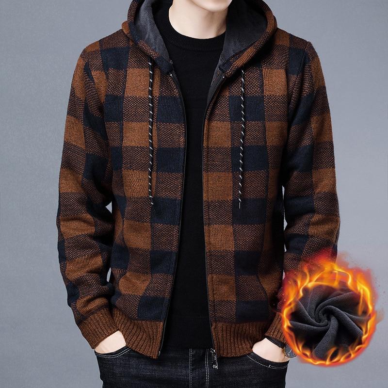 Sweater Men Autumn Winter Cardigan Sweater Coats Male Thick Warm Mens Sweater Zipper Jackets Casual Knitwear Clothing Slim Fit