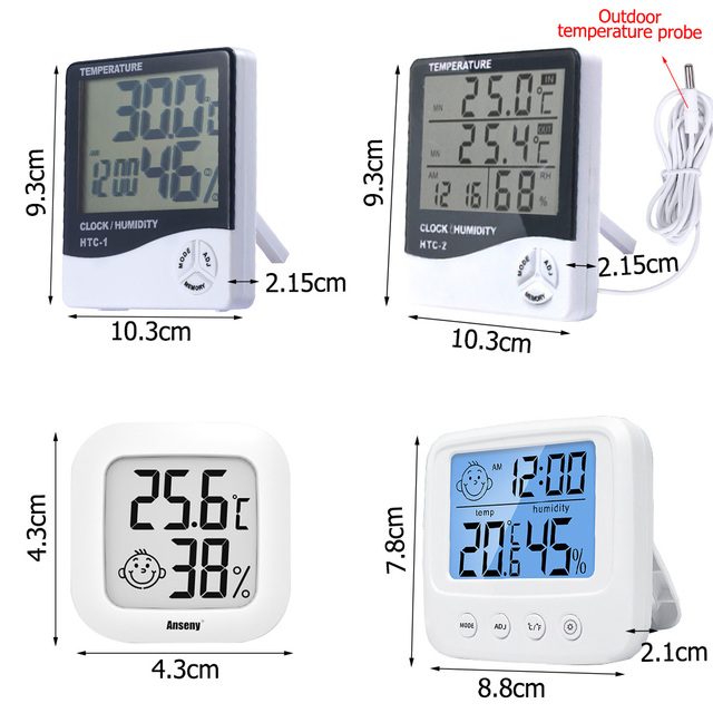LCD Electronic Digital Temperature Humidity Meter Thermometer Hygrometer Indoor Outdoor Weather Station Clock HTC-1 HTC-2 5