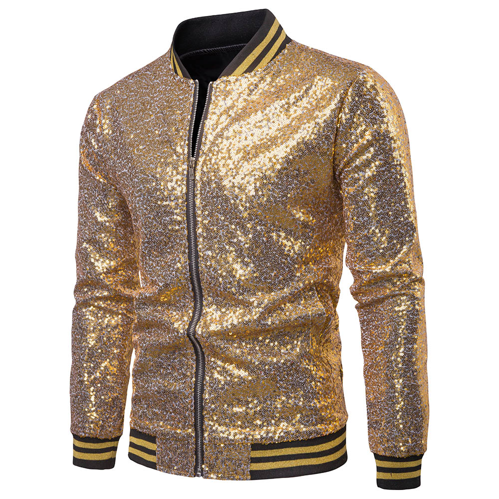 Men Shiny Blazers Gold Sequin Glitter Suit Jackets Male Nightclub Zipper Suit Blazer DJ Stage Blazers
