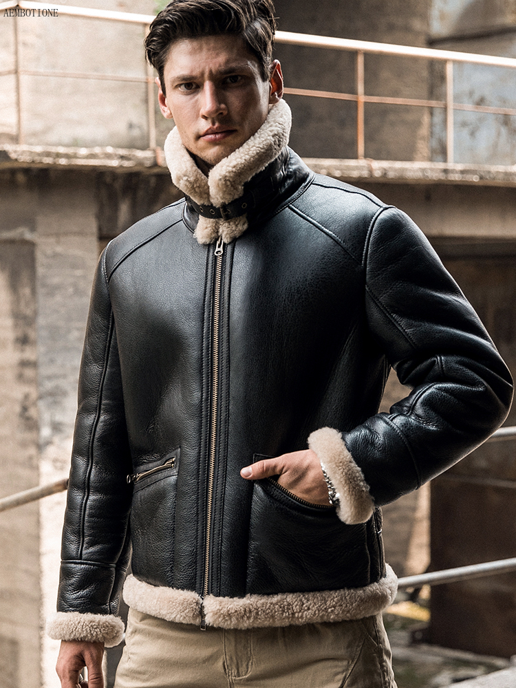 New Men Winter Thicker Fur One Leather Coat Men's Sheepskin Leather Jacket High-end Mens Shearling Locomotive Fur Air Force Suit