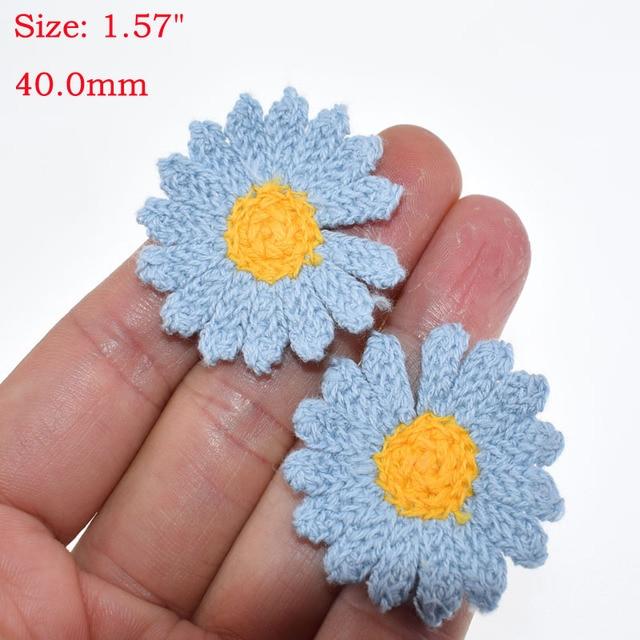 36 Assorted Flower Applique Cotton Flowers Crochet Flower/'s 1.75  Flower Set Crochet Applique Premade Sew on Applique Flower Applique