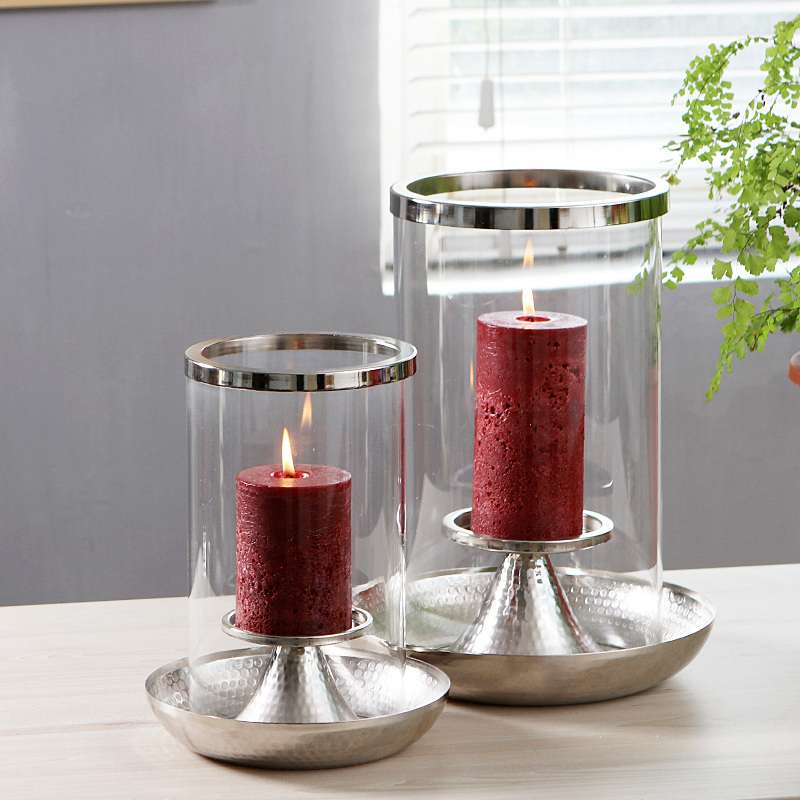 European Round Glass Candle Holder Cylinder Nordic Silver Mercury Glass Candlesticks Velas Living Room Decoration Mariage II50ZT