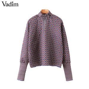 Image 1 - Vadim Vrouwen Chic Oversized Print Blouse Lantaarn Mouw Vintage Overhemd Vrouwelijke Stijlvolle Office Wear Chic Tops Blusas LB792