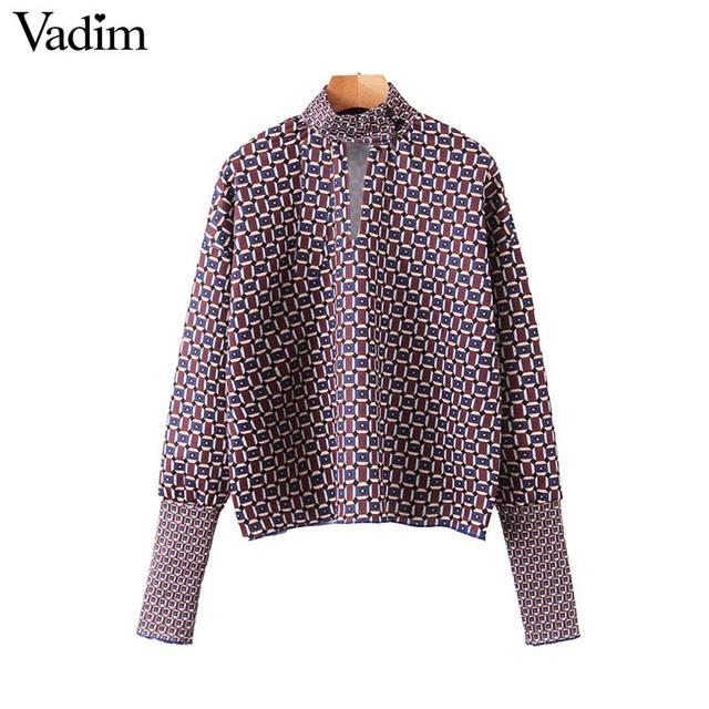 Vadim women chic oversized print blouse lantern sleeve vintage shirt female stylish office wear chic tops blusas LB792