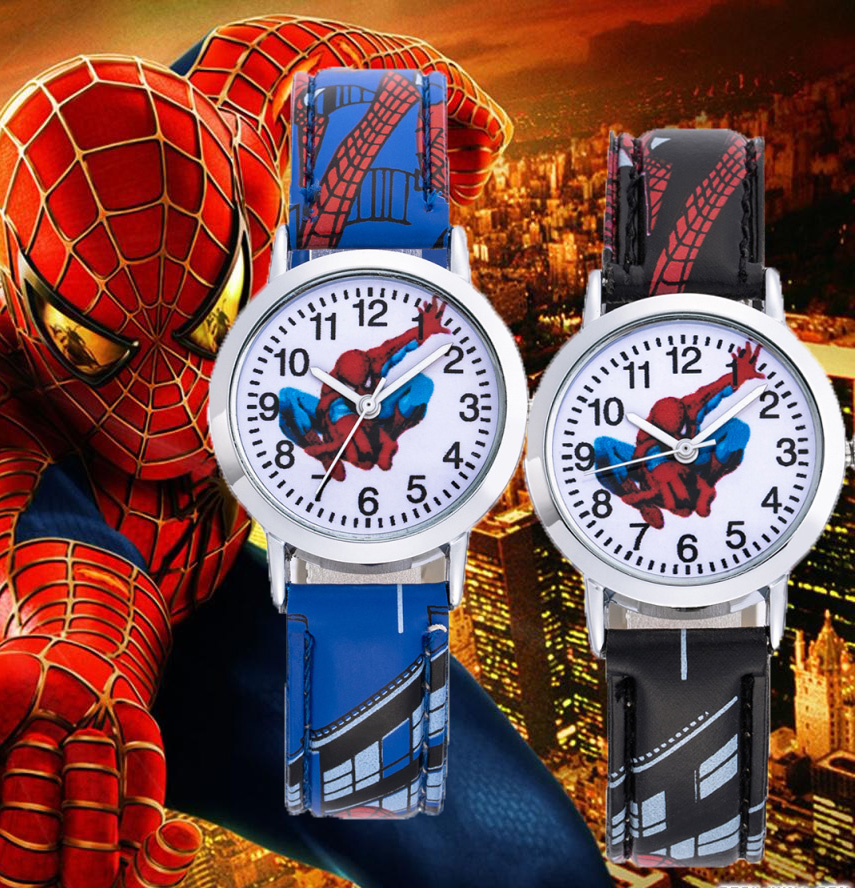 Spiderman Cartoon Kids Watches 30M Waterproof Cool Pattern Leather Strap Children Wristwatch Boys Babys Gift Montre Enfant 2019