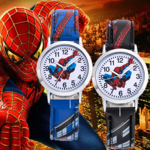 Spiderman Cartoon Kids Watches 30M Waterproof Cool Pattern Leather Strap Childre