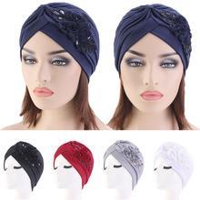 Women India Hat Women Muslim Islamic Elastic Pleated Turban Head Scarf Flower Beanie Hat Hair Loss Headwear Fashion Chemo Caps