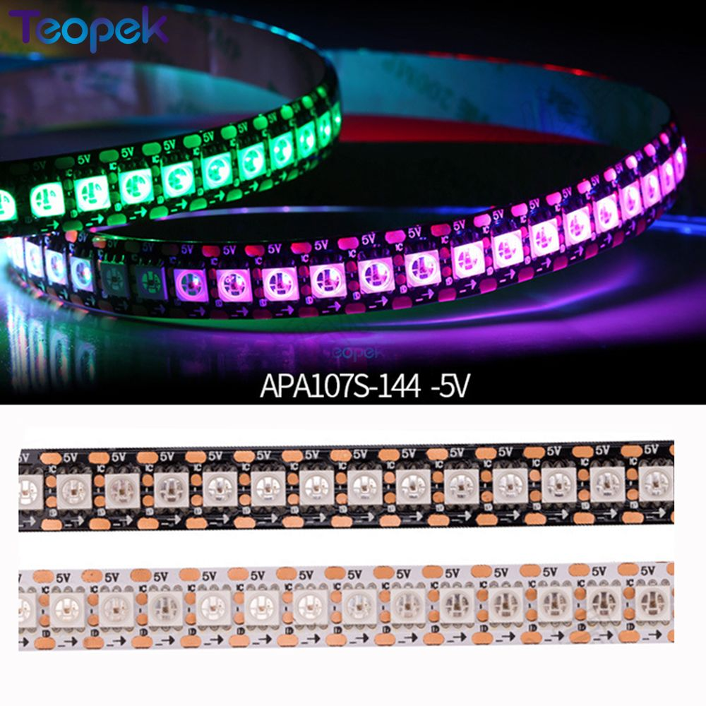 1m/5m High Density APA107 APA102 Upgrade Version RGB Strip Light HD107S Led Strip 30/60/144 Pixels Black/White PCB DC5V