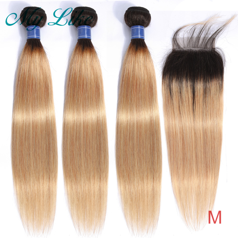 My Like Straight Hair Bundles With Closure Ombre Indian Hair Weave 1b 27 Blonde Ombre Human Hair Bundles With Closure Non-remy